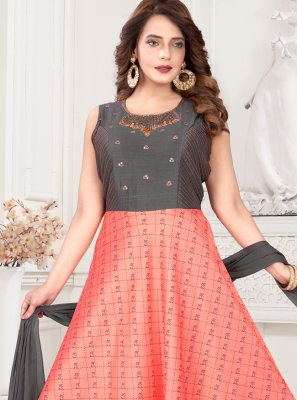 Art Silk Fancy Grey and Peach Readymade Suit