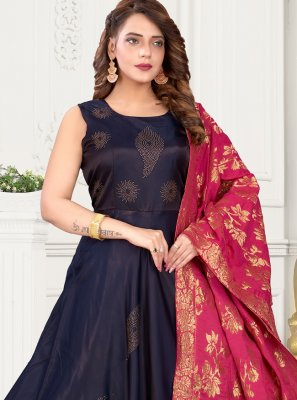 Art Silk Fancy Navy Blue Readymade Suit