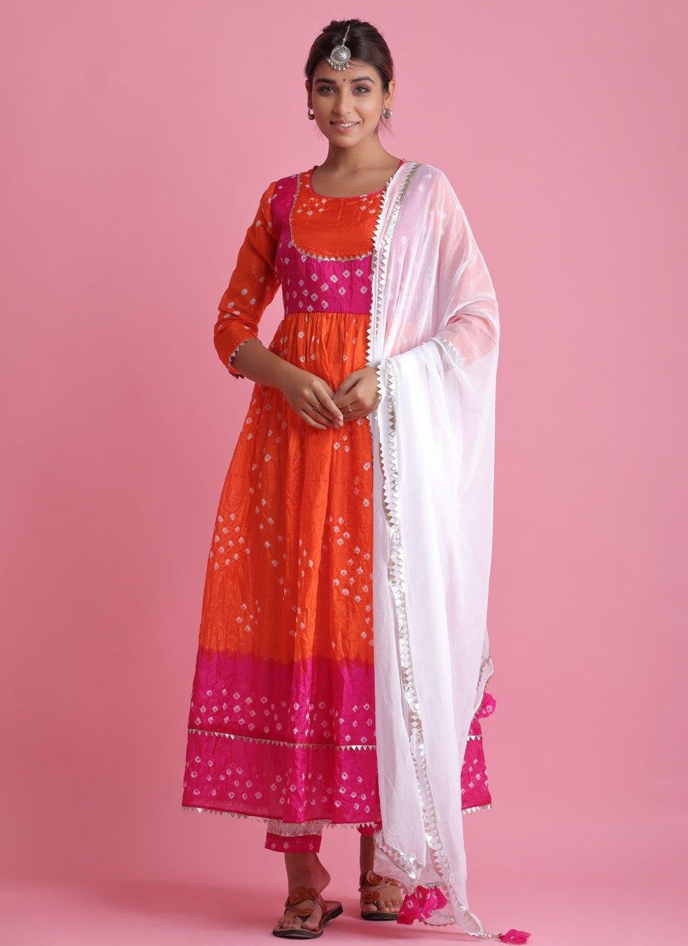Art Silk Fancy Orange Readymade Suit