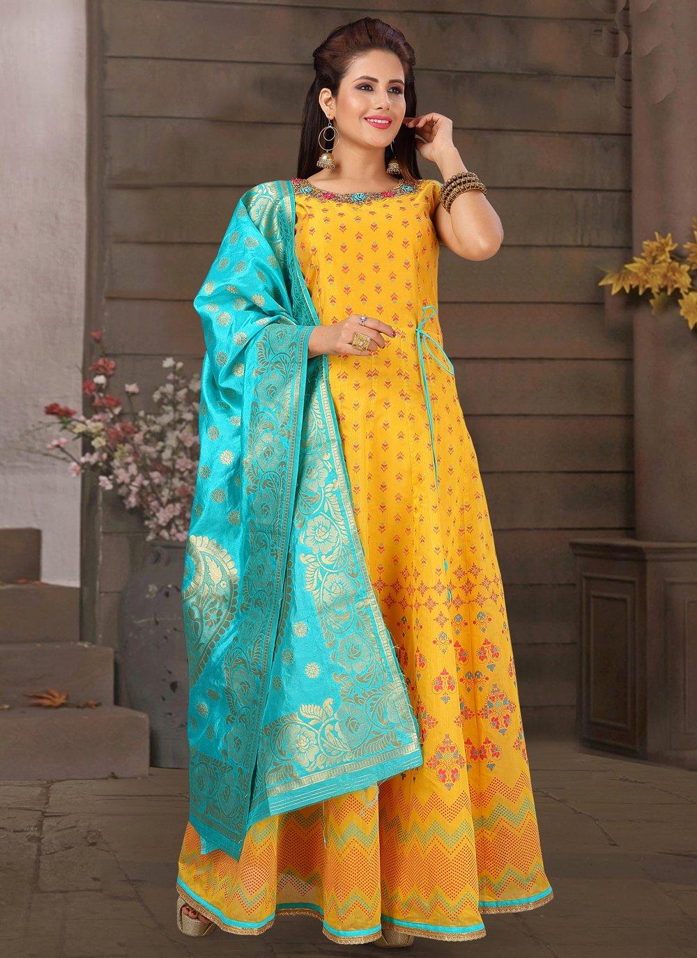Art Silk Festival Readymade Anarkali Suit