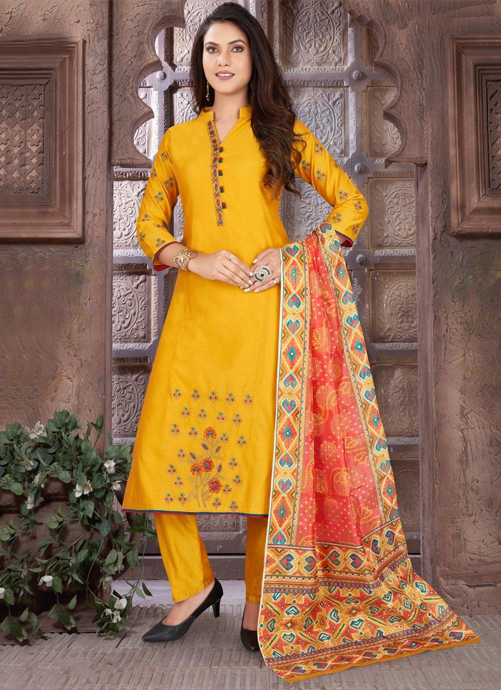 Art Silk Festival Readymade Suit