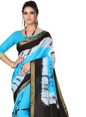 Art Silk Firozi Printed Saree