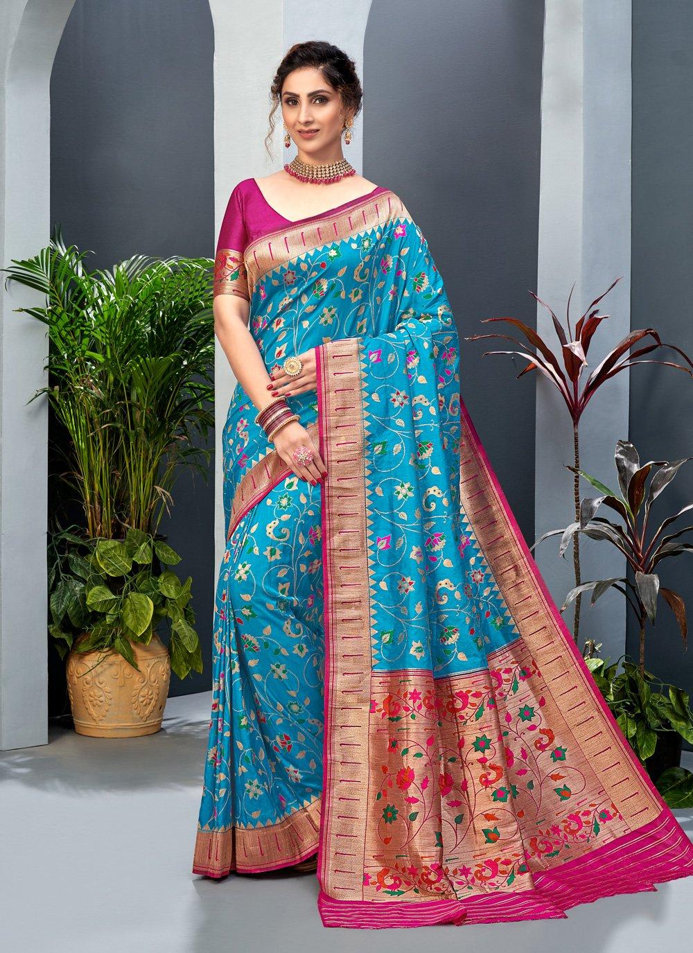 Art Silk Firozi Weaving Designer Traditional Saree