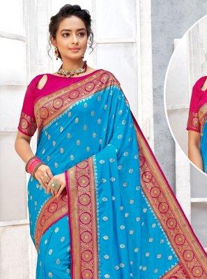 Art Silk Firozi Weaving Traditional Designer Saree