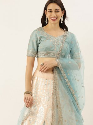 Art Silk Foil Print Cream Lehenga Choli