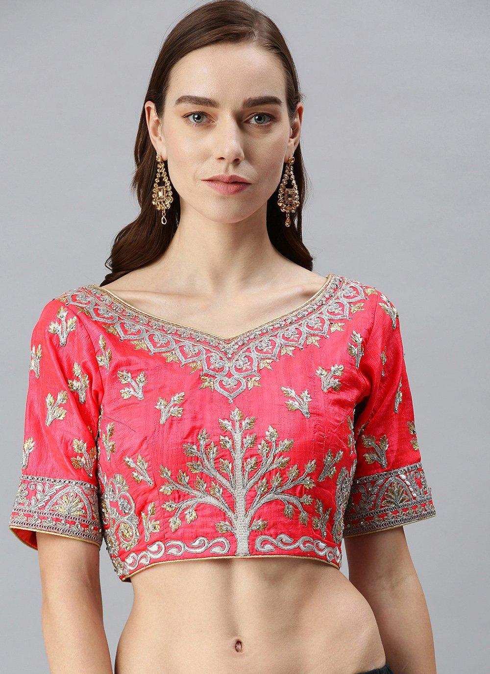 Art Silk Fuchsia Designer Blouse