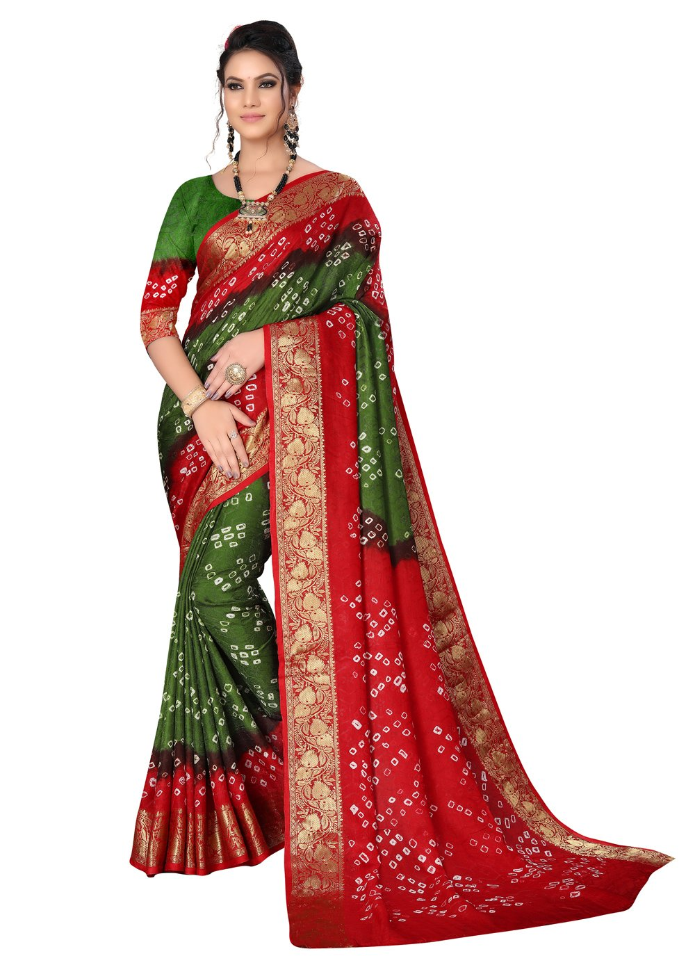 Art Silk Green and Maroon Designer Traditional Saree