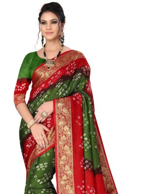Art Silk Green and Maroon Designer Traditional Saree