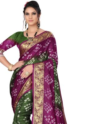 Art Silk Green and Purple Fancy Designer Traditional Saree