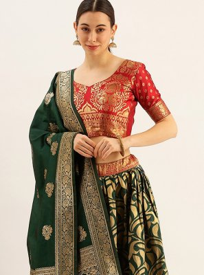Art Silk Green and Red Lehenga Choli