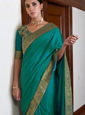Art Silk Green Lace Classic Saree