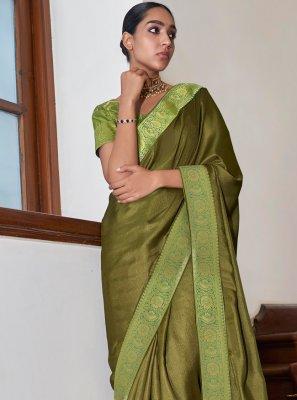 Art Silk Green Lace Designer Traditional Saree