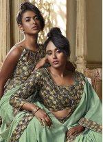 Art Silk Green Patch Border Traditional Designer Saree