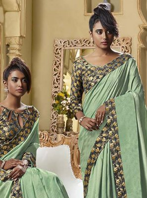Art Silk Green Patch Border Traditional Designer Saree