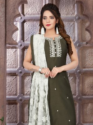 Art Silk Green Readymade Suit
