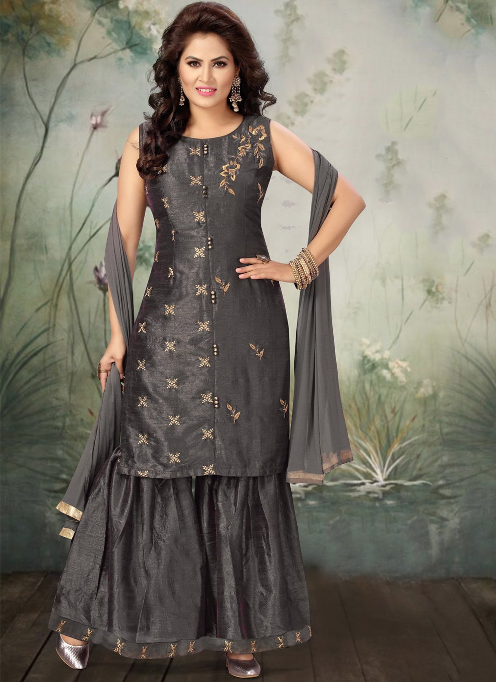 Art Silk Grey Bollywood Salwar Kameez