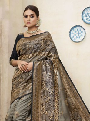 Art Silk Grey Traditional Saree