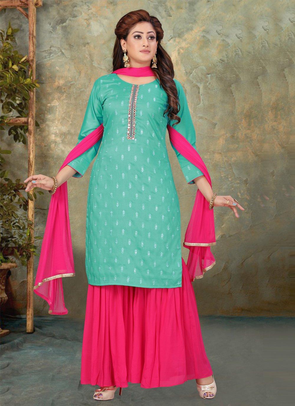 Art Silk Hot Pink and Sea Green Designer Palazzo Suit