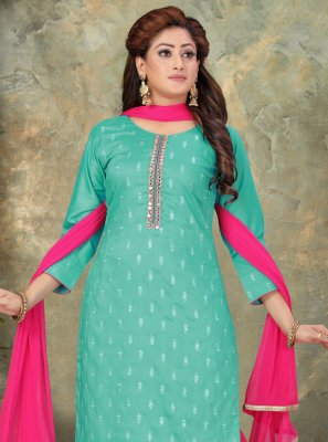 Art Silk Hot Pink and Sea Green Designer Palazzo Suit
