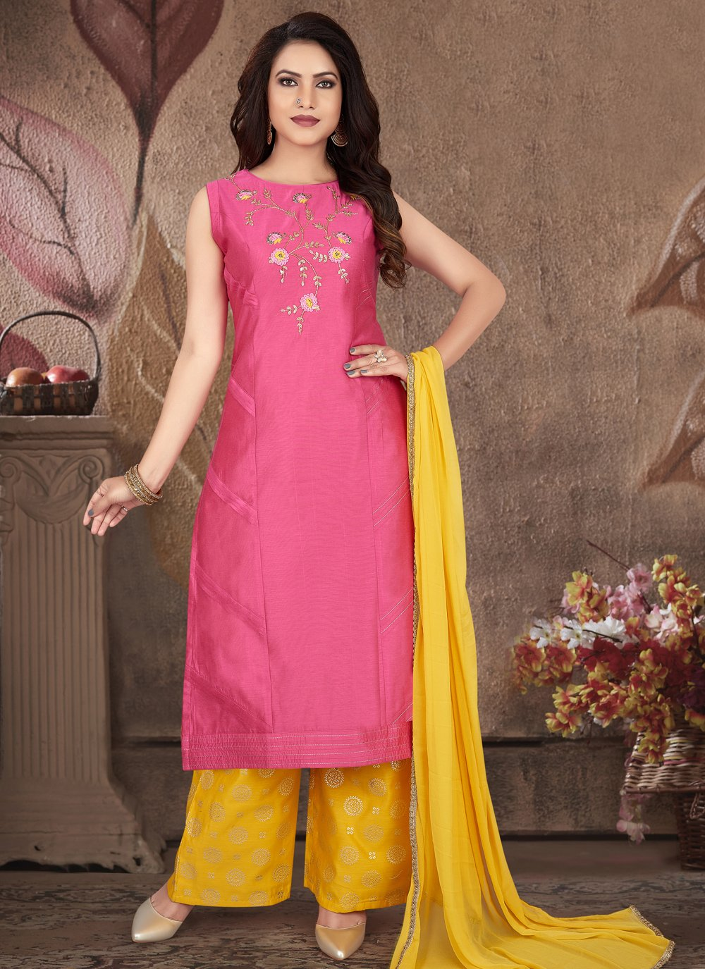 Art Silk Hot Pink Embroidered Readymade Suit