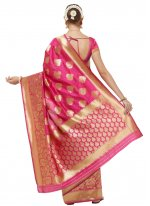 Art Silk Hot Pink Woven Traditional Designer Saree