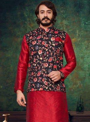 Art Silk Kurta Payjama With Jacket in Black and Red