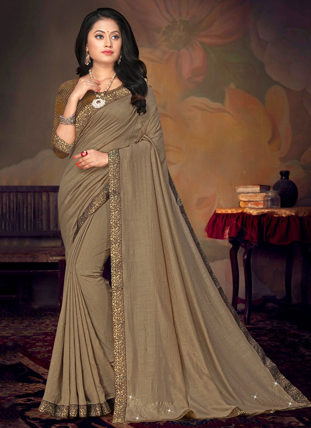 Art Silk Lace Brown Classic Saree