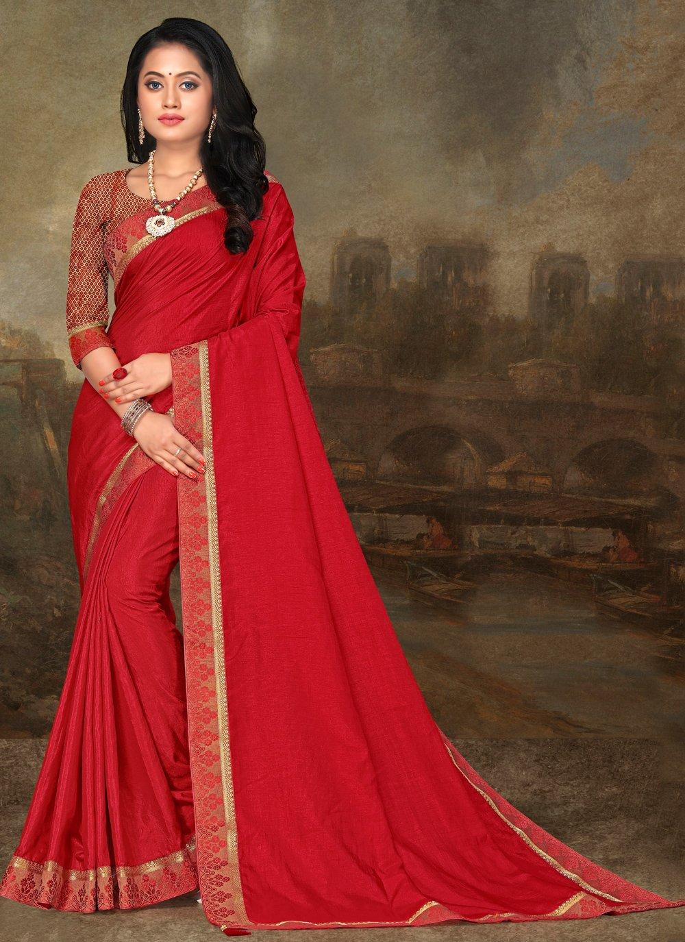 Art Silk Lace Red Classic Saree