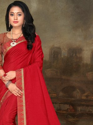 Art Silk Lace Red Classic Saree