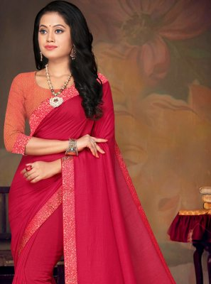 Art Silk Lace Traditional Saree in Pink