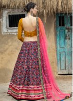 Art Silk Lehenga Choli in Multi Colour
