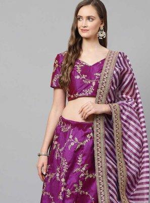 Art Silk Lehenga Choli in Purple