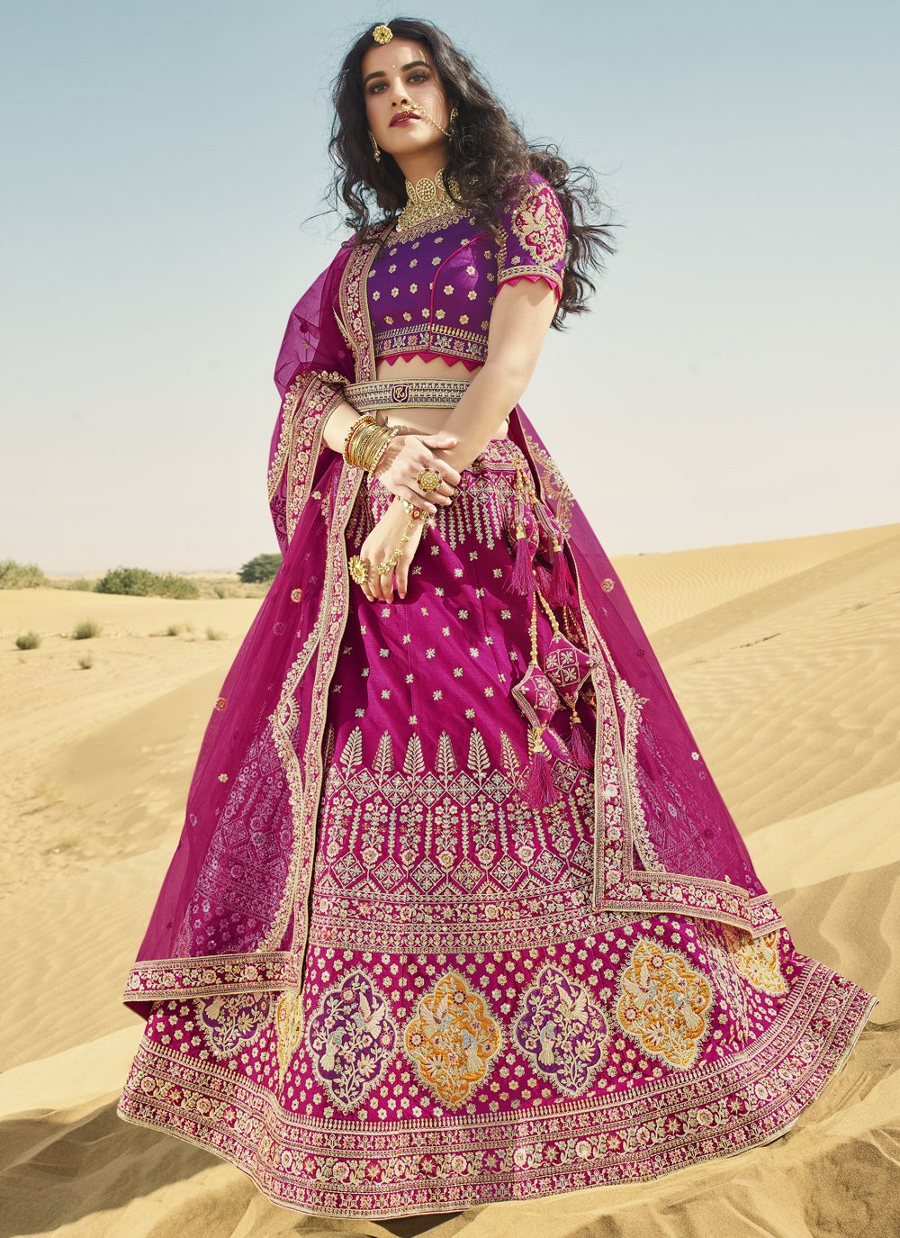 Art Silk Magenta and Purple Embroidered A Line Lehenga Choli