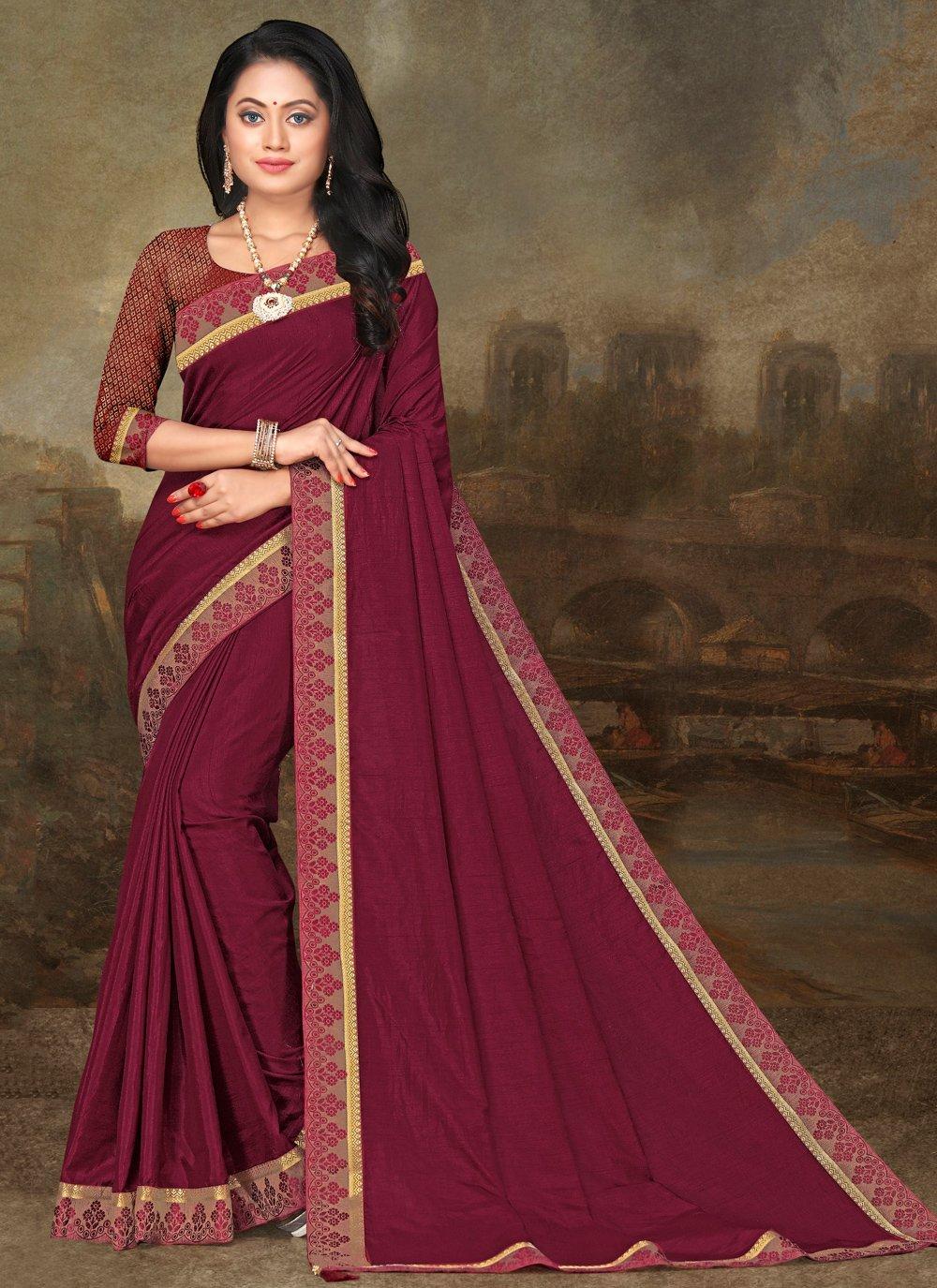 Art Silk Magenta Trendy Saree