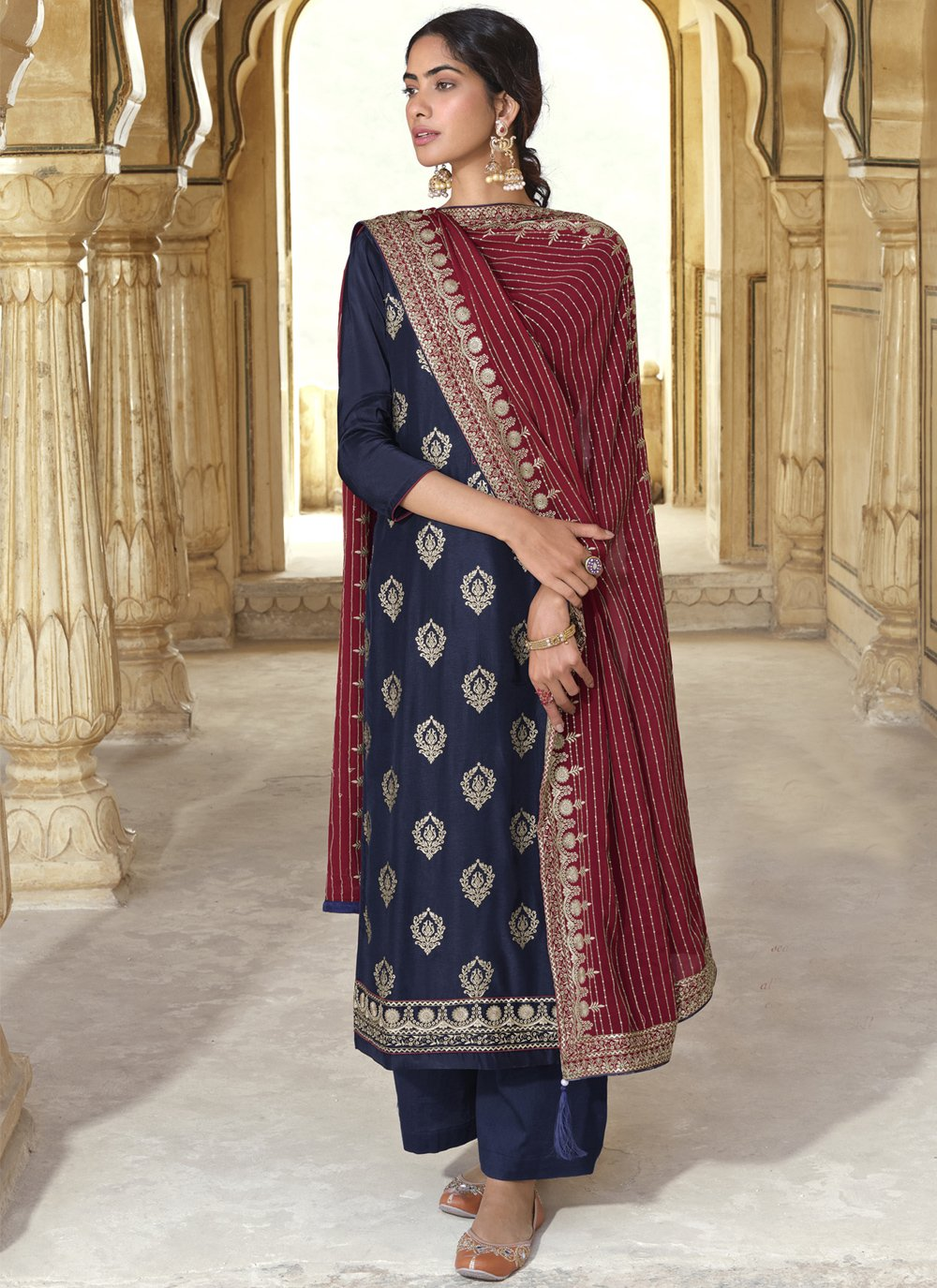 Art Silk Maroon and Navy Blue Embroidered Designer Pakistani Salwar Suit