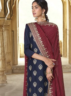 Art Silk Maroon and Navy Blue Embroidered Designer Pakistani Salwar Suit