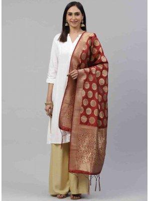 Art Silk Maroon Designer Dupatta