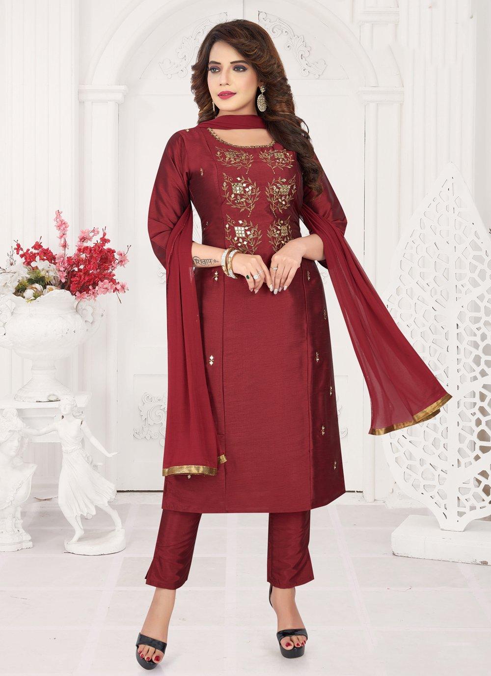 Art Silk Maroon Embroidered Bollywood Salwar Kameez