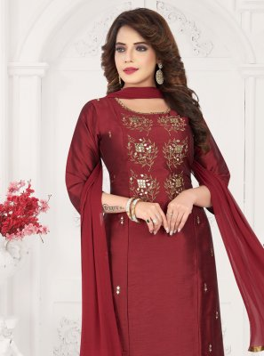 Art Silk Maroon Embroidered Bollywood Salwar Kameez