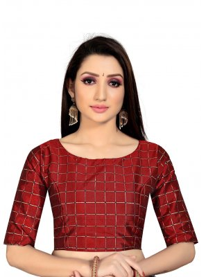 Art Silk Maroon Printed Blouse