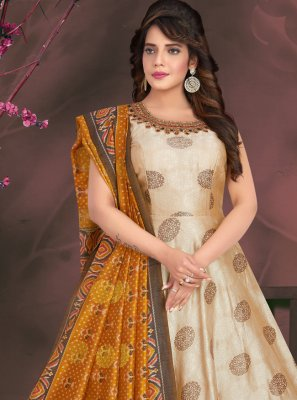 Art Silk Mehndi Readymade Suit