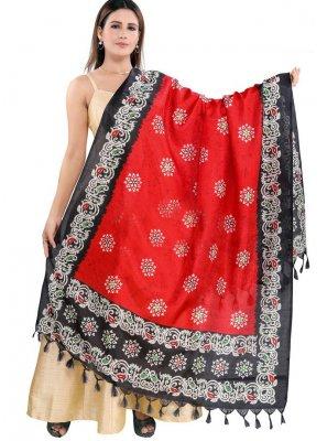Art Silk Multi Colour Print Designer Dupatta