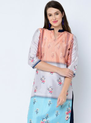 Art Silk Multi Colour Print Designer Kurti