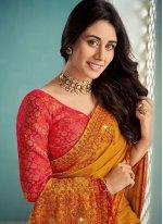 Art Silk Mustard Embroidered Bollywood Saree