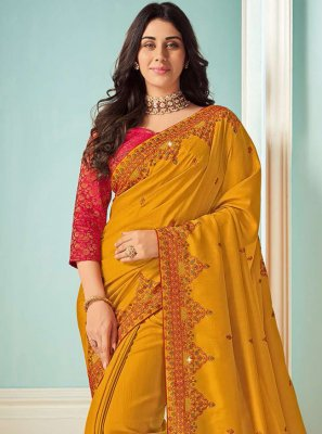 Art Silk Mustard Embroidered Bollywood Saree