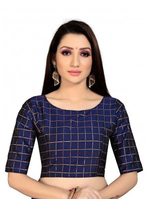 Art Silk Navy Blue Blouse
