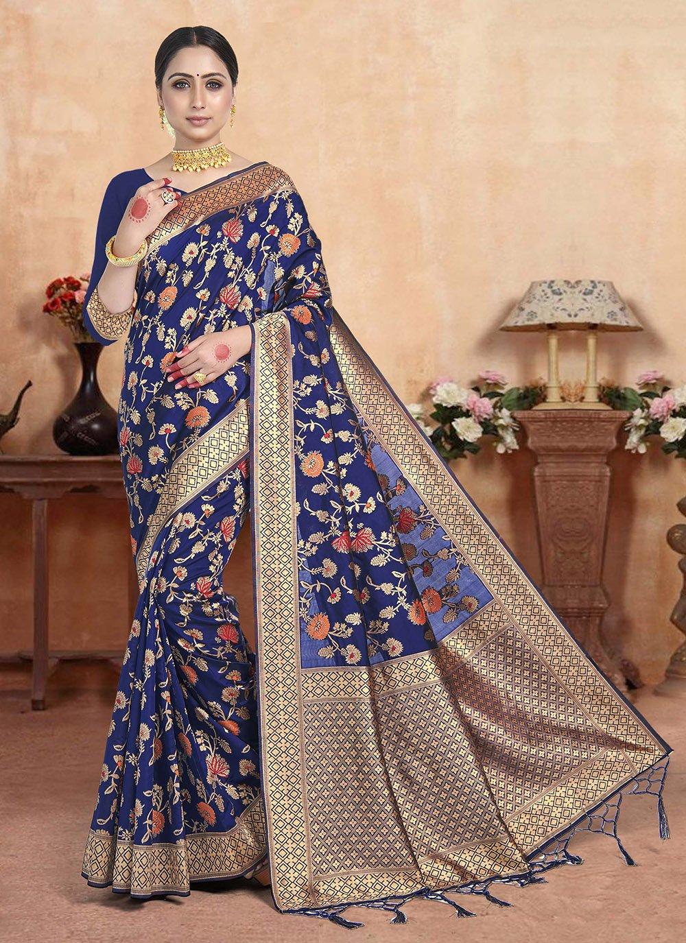 Art Silk Navy Blue Weaving Silk Saree