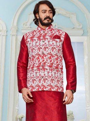 Art Silk Off White and Red Kurta Payjama With Jacket