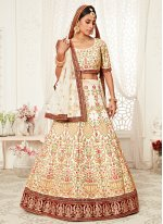 Art Silk Off White Embroidered A Line Lehenga Choli