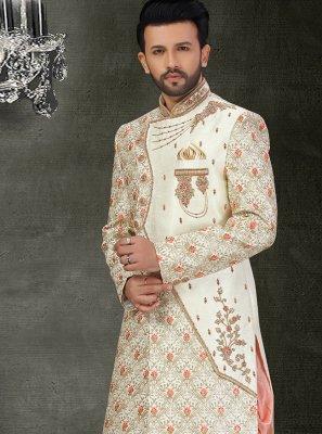 Art Silk Off White Embroidered Indo Western Sherwani